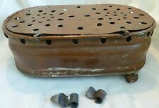 ANTIQUE Copper FOOT WARMER Candle Holders Vent Holes Rings Hammered