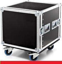 "Flightcase fly RACK 19"" 12U DOPPIO COPERCHIO CON SKATE E RUOTE DJ baule"