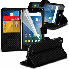 Carbon Fibre Wallet Flip Case Cover For Acer Liquid Z630