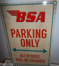 "BSA PARKING ONLY  RETRO 12""X 8"" METAL SIGN 30X20cm, GOLD STAR/ROCKET/BANTAM/A10"