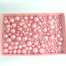 200 Assorted Sizes 4mm 6mm 8mm 10mm Glass Pearl Beads Powder Rose