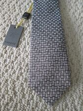 NWT Authentic Canali Brown White Geometric Pattern Printed Silk Tie $160