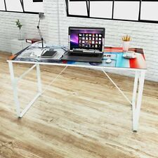 Modern Computer Desk Rectangular Study Work Office PC Laptop Large Glass Table