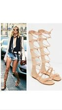 ZARA Leather Nude Roman Gladietor Sandals Size Uk 5 Eu 38 USA 7.5