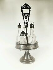Antique Wilcox Quadruple Silver Plate Castor Cruet Set Crystal Glass 5 Bottles