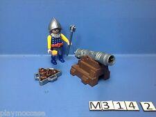 (M314.2) playmobil  chevalier du lion bleu et sa canonière 3316/3268