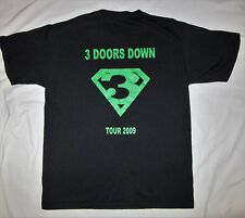 3 DOORS DOWN black shirt LARGE Road Crew 2009 Tour RARE Upstaging Inc Chicago