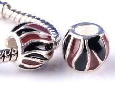 2pcs Painted double stripe big hole Beads Fit European Charm Bracelet DIY HH811