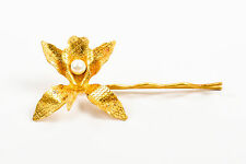 Jenny Packham NWT $325 Gold Tone Faux Pearl Orchid Flower Hair Pin