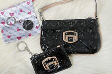 NWT Authentic GUESS Womens 3 Piece Matching PURSE CLUTCH WALLET Black RT $115