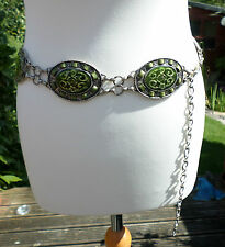 Vintage Chain belt Large Oval Green discs with silver tone metal chain links