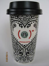 2010 Starbucks Jonathan Adler RED Art Design Coffee/Tea Ceramic w/ Lid- Cup/Mug