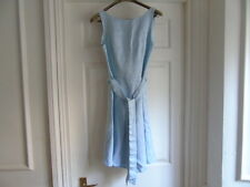 Maxine Kaveva baby blue 100% cotton linen style sleeveless flare belt dress s10
