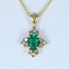 $2,200 14K Yellow Gold White Round 0.15ct Diamond Emerald Pendant Necklace Chain