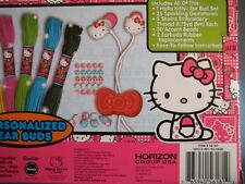 HELLO KITTY PERSONALIZED EAR BUDS, WITH BEADS, THREAD & SPARKLING GEMSTONES  NEW