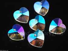 12pcs Clear AB Glass Crystal Heart-Shaped Beads Spacer Findings Crafts 14mm