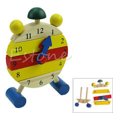 Baby Blocks Early Learning Building Children Educational Wooden Toy Clock New