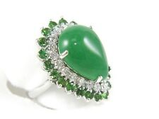 Fine Pear Cut Jadeite Ring w/White & Green Diamond Halo 14k White Gold 13.70Ct
