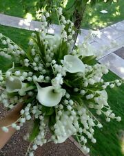 2p White Wedding Bouquet Bridal Silk Flowers Calla Lily, Lily of the valley