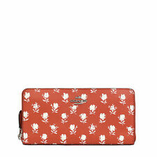 NWT Coach Badlands Floral Zip Around Wallet in Carmine Multi F 53942 $250