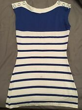 Womens Jane Norman Summer Vest Top Uk Size 8 Blue & White Free P&P