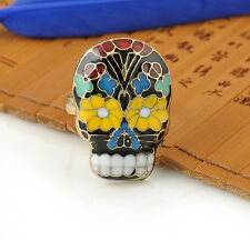 Punk Peking Opera Skull Mask Ring Facebook Cocktail Finger Ring Flower Tooth