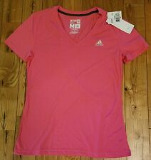 NWT Womens ADIDAS Performance Hot Pink S/S V Neck Tee Size Medium M
