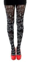 Pamela Mann Flocked Musical Note Tights Black Opaque Fashion White Pattern