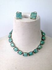 Vintage Signed CORO Opalescent Confetti Lucite Adjustable Necklace Earring Set J