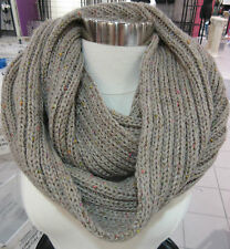 Cable Knit Scarf Infinity Cable Soft Knit Long Circle Tan Speckled NWT DC704
