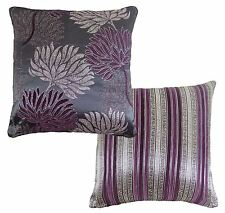 FILLED LUXURY FLORAL STRIPE TAPESTRY CHENILLE PURPLE PLUM SILVER CUSHION 17""