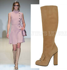 GUCCI BOOTS LILLIAN TALL BEIGE SUEDE LEATHER HORSEBIT DETAIL HIGH HEEL 35 5