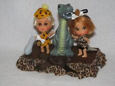 Mattel Liddle Kiddle Dolls As Pebbles & Bam Bam On Decorated Display
