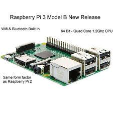 Raspberry Pi 3 Modell B 1GB RAM Quad Core 1,2G 64 Bit CPU Bluetooth WiFi an Bord