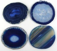 """Natural Sliced Agate Coaster with Rubber Bumper Set of 4 (Q.1 Blue 3-3.5"""")"""