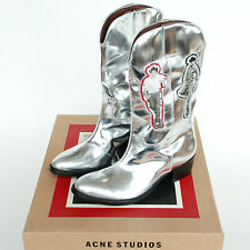 ACNE STUDIOS x BRUCE OF LOS ANGELES Tara Rodeo silver gay cowboy boots 38 NEW