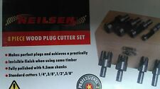 NEILSEN 8 PC WOOD PLUG CUTTER / CUTTING SET CUTTING TOOLS 9.5mm SHANK,