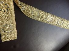 "1 meter gold 2.5"" diamante lace trim pearls mirrors beads edge sewing border"