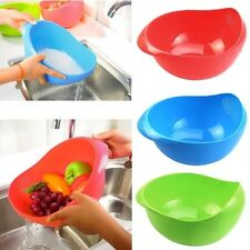 Plastic Rice Vegetable Basin Wash Sieve Fruit Bowl Colander Wash Basket Blue
