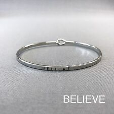 Simple Silver Believe Engraving Vintage Brass Classic Bangle