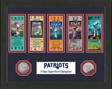 New England Patriots 5X Super Bowl Champions Ticket & Medallion Coin Collection