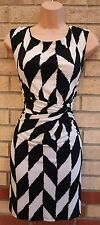 WALLIS PETITE KNOT WHITE BLACK ABSTRACT PENCIL TUBE BODYCON PARTY TEA DRESS 10 S