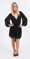 """Rina"" Black & Ivory White Gold Sequin Cuff Chiffon Wrap Mini Dress Sizes 6-22"