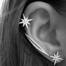Punk Gothic Antique Silver Snowflake Rhinestone Clip Ear Cuff Wrap Stud Earrings