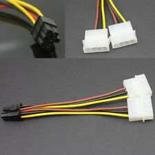 New 2x 4 Pin Molex to 6 Pin PCI-E Power Supply Cable Adapter 12cm