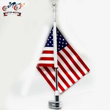 "Motorcycle Chrome Full Dresser Luggage Rack 15"" Mount USA US American Flag Pole"