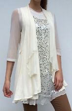Brand new Boo Radley ladies cream sequinned blouse top, size XL RRP $159