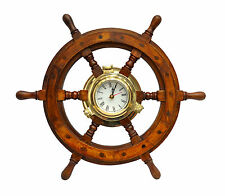 "Brass Porthole 18""Wooden Ship Wheel  Wall Clock Brass New Ship`S Time,"