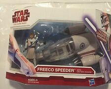 STAR WARS Clone Wars FREECO SPEEDER & OBI-WAN KENOBI Package Converts to Diorama