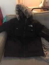 North Face Mens Down HYVENT Jacket Gotham Black w/ Detachable Fur Hood Large